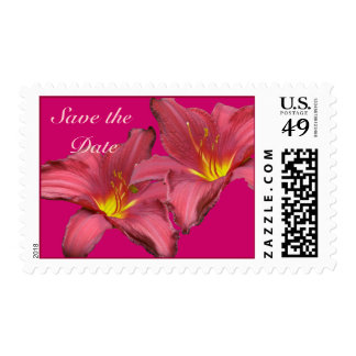 Red Daylily Save the Date Stamp