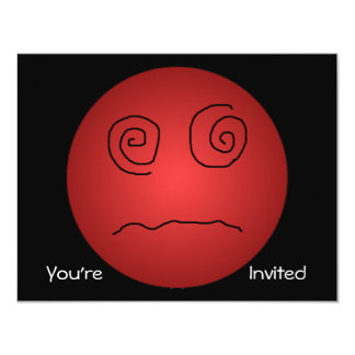 """Red Dazed and Confused Smiley 4.25"""" X 5.5"""" Invitation Card"""