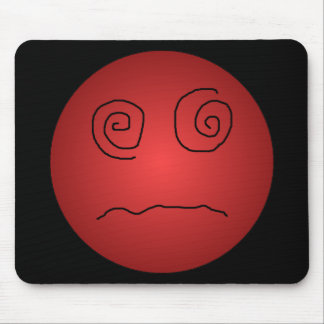 Red Dazed and Confused Smiley Mouse Pad