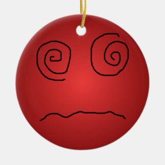 Red Dazed and Confused Smiley Ornament