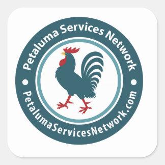 Red de servicios de Petaluma Calcomanías Cuadradass Personalizadas