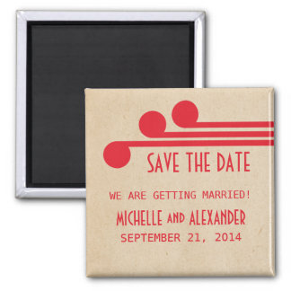 Red Deco Chic Save the Date Magnet