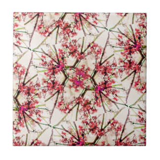 Red Deco Geometric Nature Collage Floral Motif Ceramic Tile