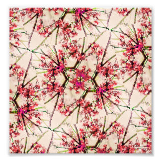 Red Deco Geometric Nature Collage Floral Motif Photo Art
