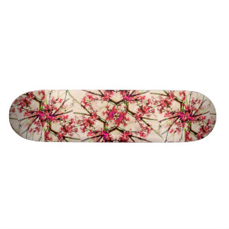 Red Deco Geometric Nature Collage Floral Motif Skateboard Deck