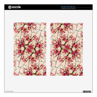 Red Deco Geometric Nature Collage Floral Motif Kindle Fire Decal