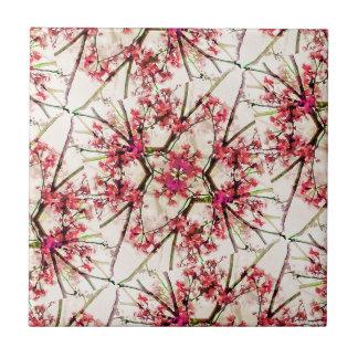 Red Deco Geometric Nature Collage Floral Motif Ceramic Tiles