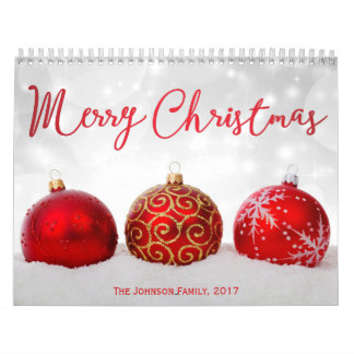 Red Decor Merry Christmas 2017 Photo Calendar