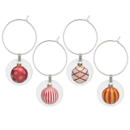 Red Decorated Christmas Balls Wine Charms