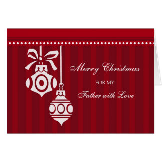 Red Decorations Dad Merry Christmas Card