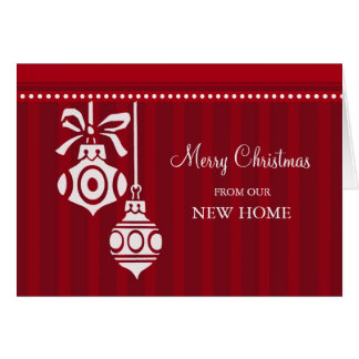 Red Decorations New Address Christmas Card