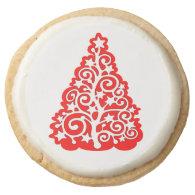 Red Decorative Christmas Tree Holiday Treats Round Sugar Cookie
