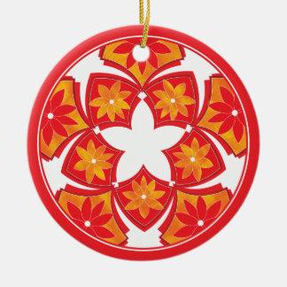 Red Decorative Floral Tiles Ornament
