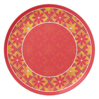 Red Decorative Floral Tiles Plate