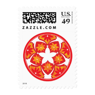 Red Decorative Floral Tiles Postage