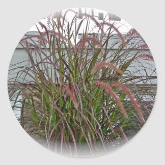Red Decorative Grass Coordinating Items Round Stickers