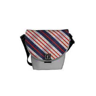 Red Deep Blue Stripe Messenger Bag