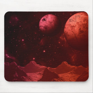 Red Deep Space Alien Worlds Mouse Pad