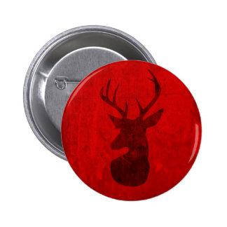 Red Deer Design Pinback Button