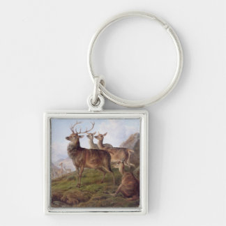 Red Deer in a Highland Landscape, 1872 (oil on can Keychain