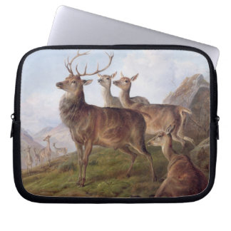 Red Deer in a Highland Landscape, 1872 (oil on can Laptop Computer Sleeves