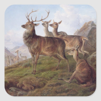 Red Deer in a Highland Landscape 1872 oil on can Square Sticker