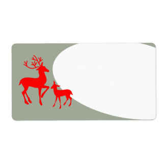 Red Deer on Gray Shipping Label