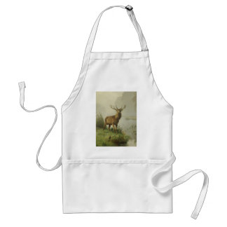 Red Deer painting Adult Apron