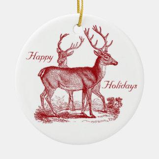 Red Deer Reindeer in Woods Custom Christmas Ceramic Ornament