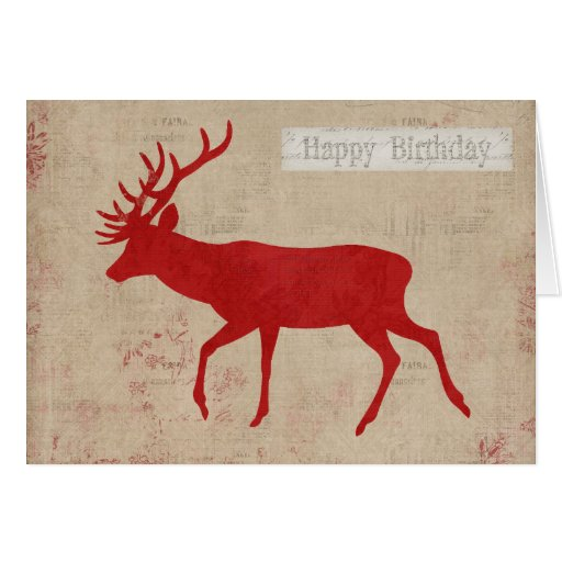 Red Deer Silhouette Birthday Card  Zazzle