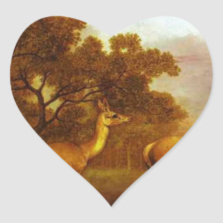 Red Deer Stag and Hind by George Stubbs Heart Sticker