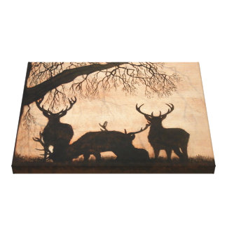 Red Deer Stags Stretched Canvas