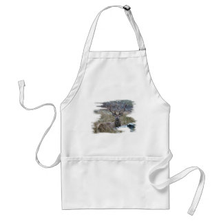 Red deer staring down. adult apron