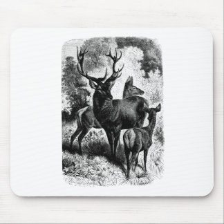 Red Deer Vintage Wood Engraving Mouse Pad