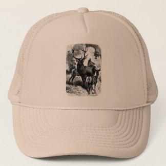Red Deer Vintage Wood Engraving Trucker Hat