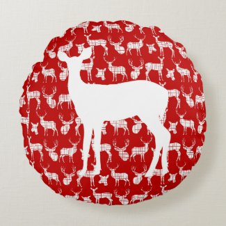 Red Deer With White Buck and Doe Round Pillow
