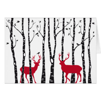 Red deers in birch tree forest cards