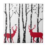 Red deers in birch tree forest ceramic tiles