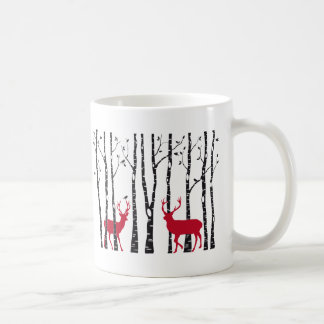 Red deers in birch tree forest coffee mug