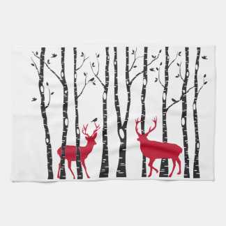 Red deers in birch tree forest hand towel