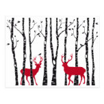 Red deers in birch tree forest post cards
