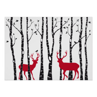 Red deers in birch tree forest poster