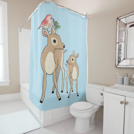 Red deers of Christmas Shower Curtain