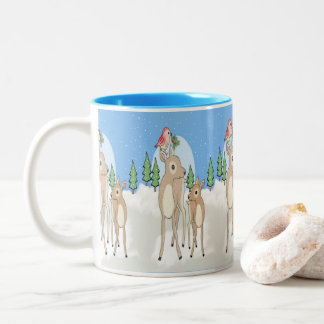 Red deers of Christmas Two-Tone Coffee Mug