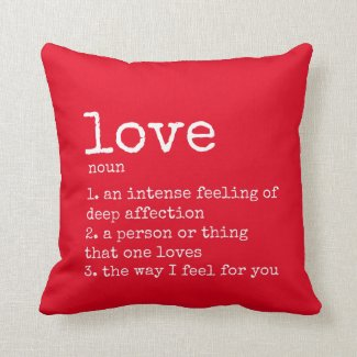 Red Definition of Love Floral Pattern Pillow