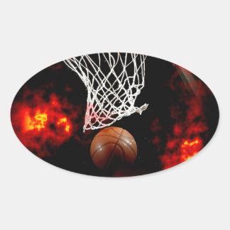 Red del baloncesto, bola y pegatina del óvalo de