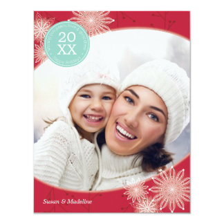 Red Delicate Snowflake Holiday Card