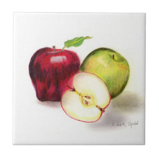 Red Delicious and Granny Smith Apples 4x4 Tiles