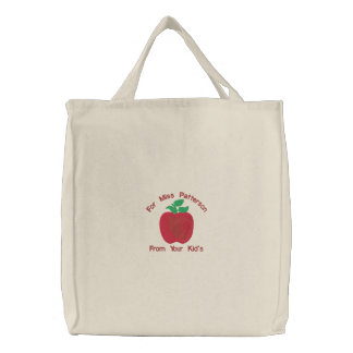 Red Delicious Apple Customize Embroidery Pattern Embroidered Tote Bag