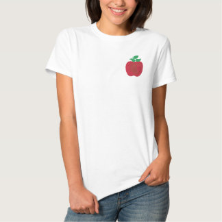 Red Delicious Apple Embroidered Design Teacher Embroidered Shirt